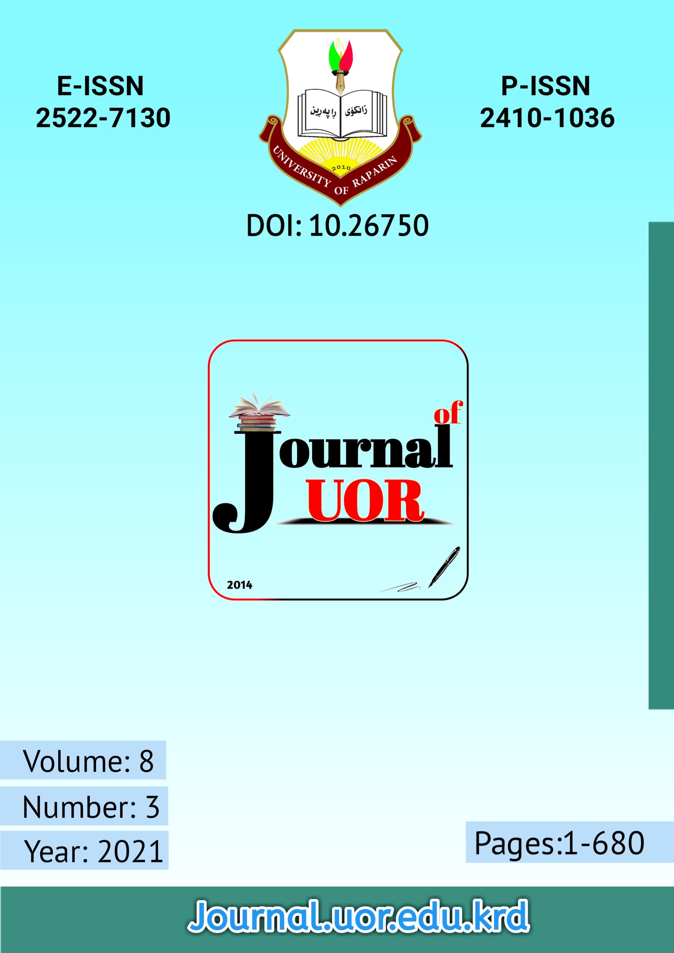 View Vol. 8 No. 3 (2021): Journal of University of Raparin